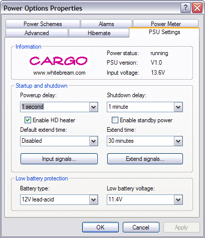 Power Supply Configuration tool